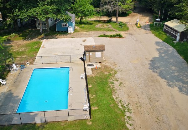 Ariel view of new pool area